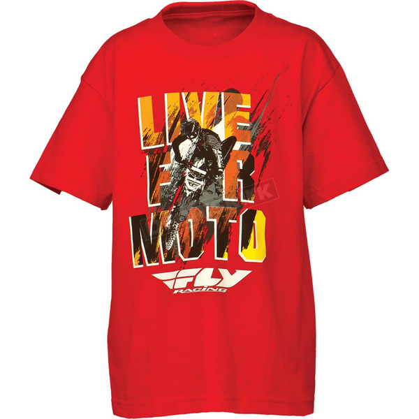 Fly Racing Youth Red Live for Moto T-Shirt - 352-0662YS