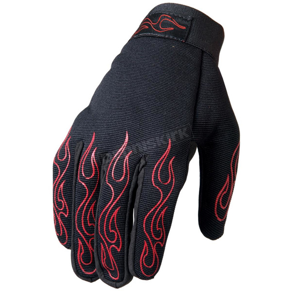 Hot Leathers Red Flames Mechanics Gloves - GVM2002XXL