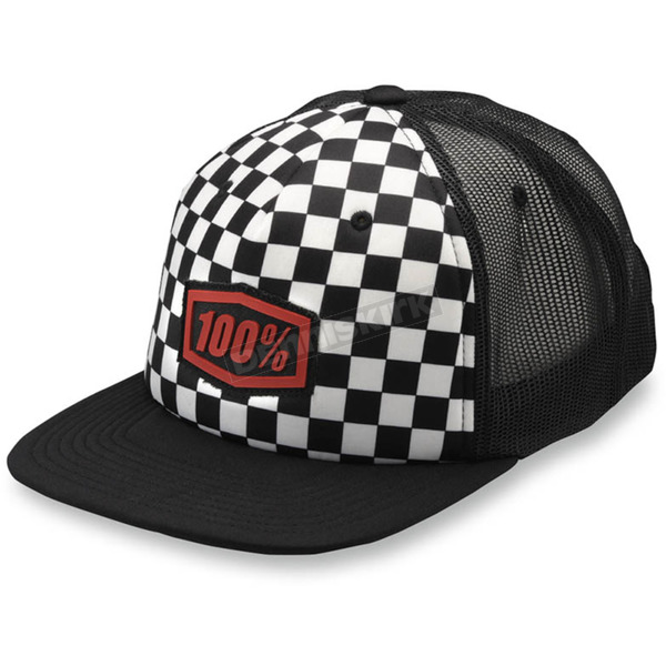 100% Youth Black/White Checkers Trucker Hat - 20048-001-00