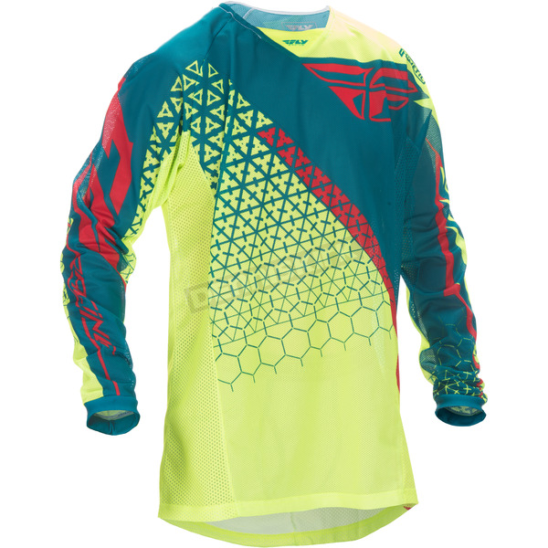 Fly Racing Hi-Vis Yellow/Teal Kinetic Mesh Trifecta Jersey - 370-328M