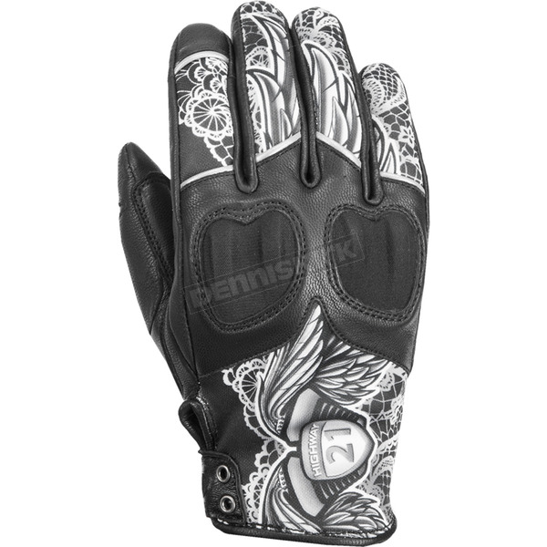 Highway 21 Women's Black/White Lace Vixen Gloves - 489-0091X