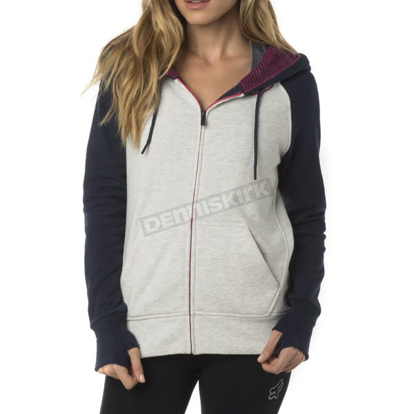 Fox Women's Light Heather Gray Permafrost Polar Fleece Zip Hoody - 18072-416-M