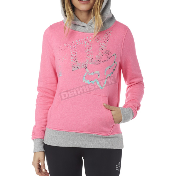 Fox Women's Neon Pink Shaded Pullover Hoody - 18135-065-XL