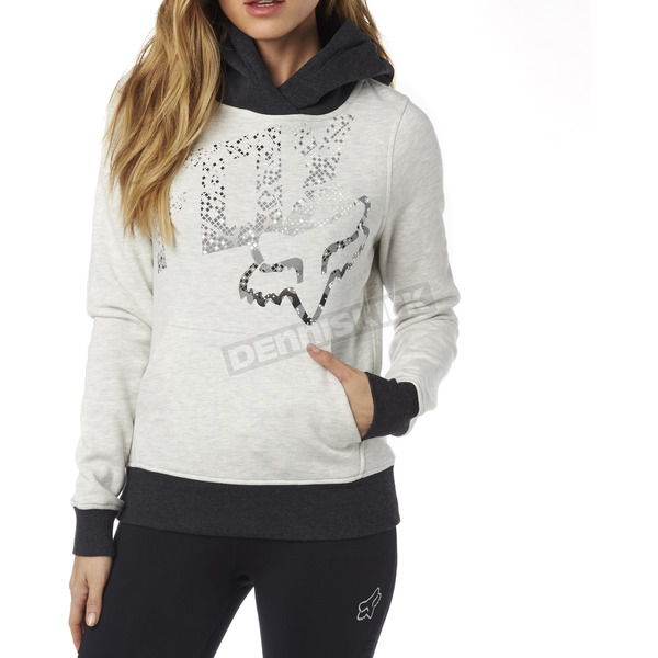 Fox Women's Light Heather Gray Shaded Pullover Hoody - 18135-416-XL