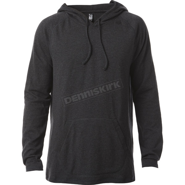 Fox Heather Black Pitted Hooded Long Sleeve Shirt - 18339-243-S