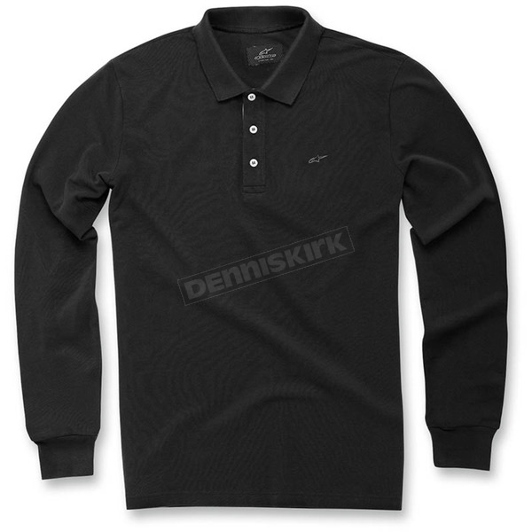Alpinestars Black Cafe Long Sleeve Polo Shirt - 103641000-10S