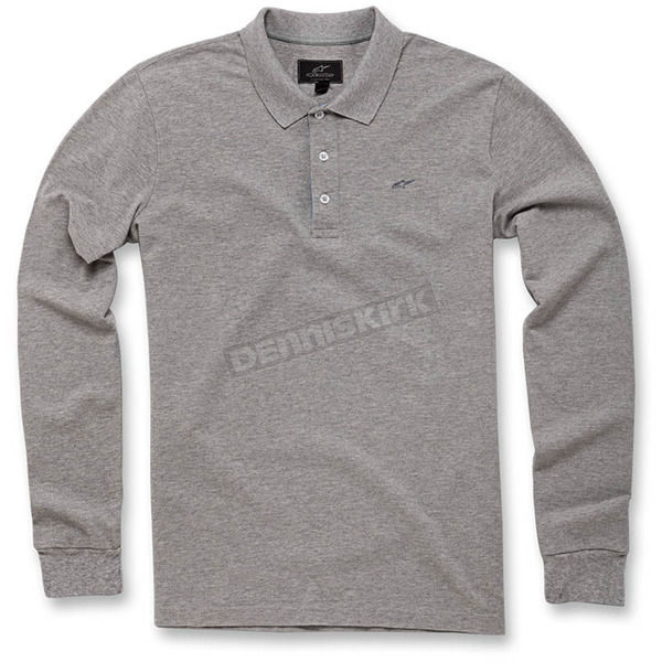 Alpinestars Gray Melange Cafe Long Sleeve Polo Shirt - 103641000-150L