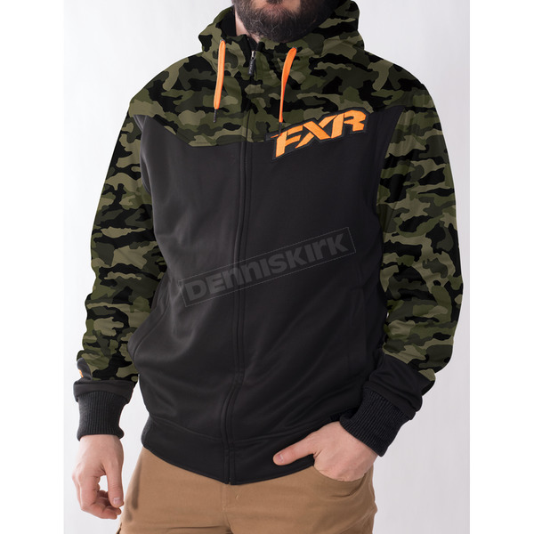 FXR Racing Army Urban Camo/Black/Orange Terrain Sherpa Tech Hoody - 170937-7630-16