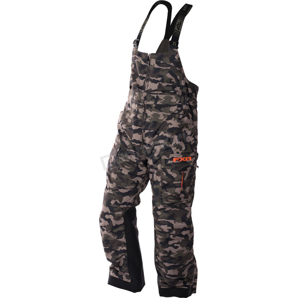 FXR Racing Army Urban Camo/Orange Excursion Bibs - 170104-7630-16