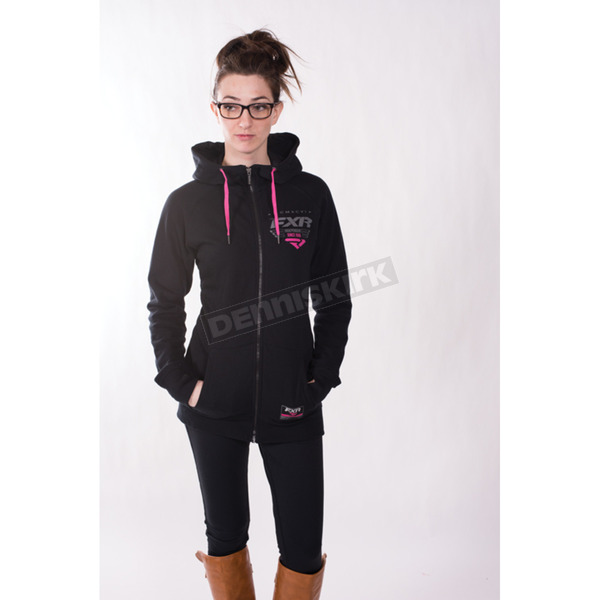 FXR Racing Women's Black/Fuchsia Factory Ride Hoody - 171400-1090-16