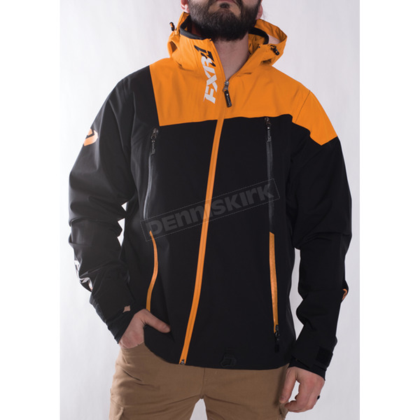 FXR Racing Black/Orange Mission Trilaminate Shell Jacket - 170900-1030-13