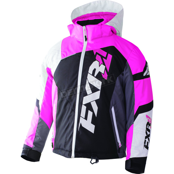 FXR Racing Child's Black/White Weave/Electric Pink Revo X Jacket - 170411-1094-04