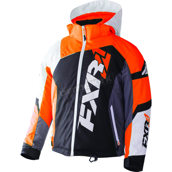 FXR Racing Youth Black/White Weave/Flo Orange Revo X Jacket - 170406-1035-14
