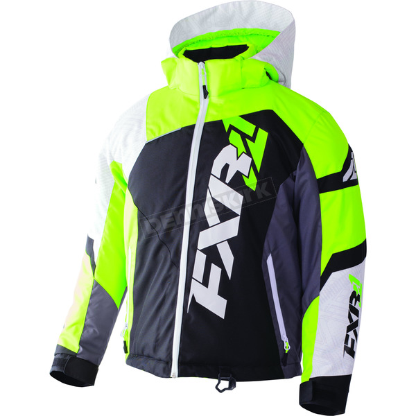 FXR Racing Youth Black/White Weave/Lime Revo X Jacket - 170406-1070-14