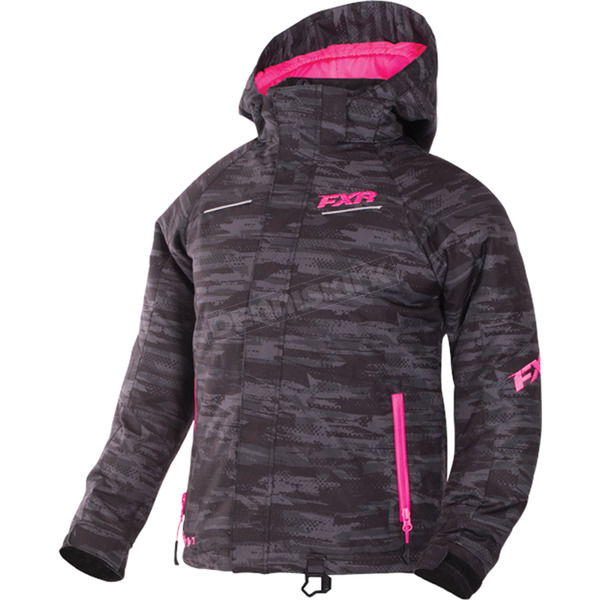 FXR Racing Child's Charcoal Cascade/Electric Pink Fresh Jacket - 170408-0694-08