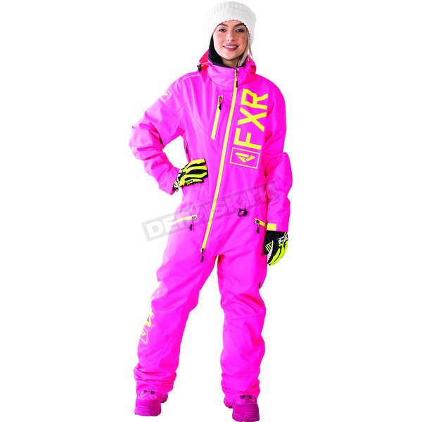 FXR Racing Women's Electric Pink/Hi-Vis Insulated Squadron Monosuit - 172905-9465-12
