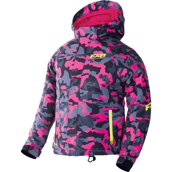 FXR Racing Child's Fuchsia Urban Camo/Hi-Vis Fresh Jacket - 170408-9165-02
