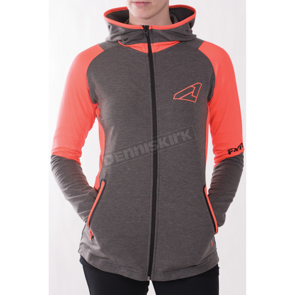 FXR Racing Women's Gray Heather/Electric Tangerine Clash Active Zip  Hoody - 171003-0635-07