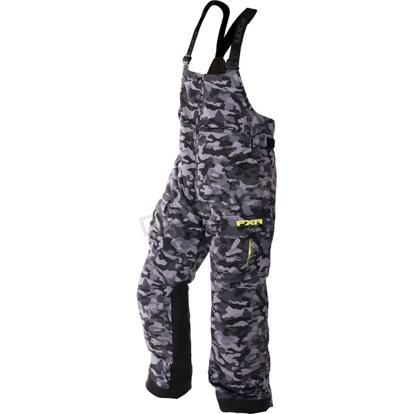 FXR Racing Gray Urban Camo/Hi-Vis Excursion Bibs - 170104-0665-10