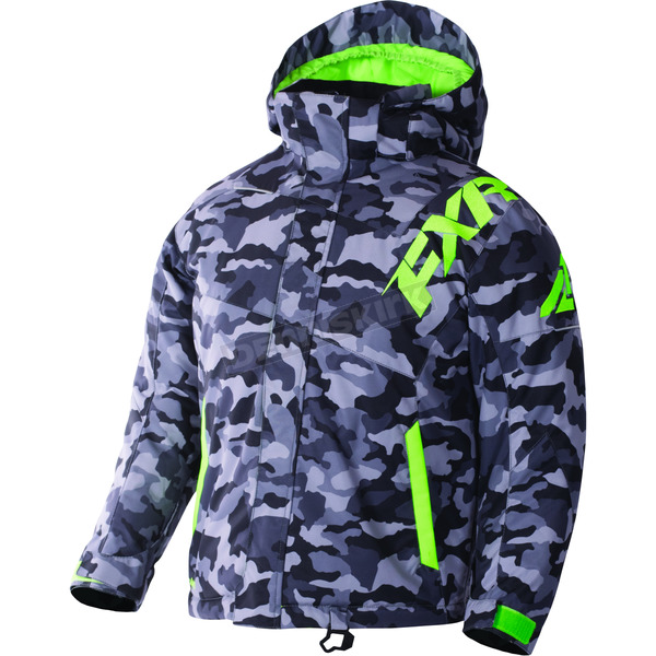 FXR Racing Youth Gray Urban Camo/Lime Squadron Jacket - 170400-0670-12