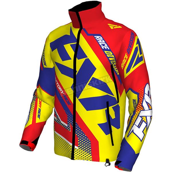 FXR Racing Hi-Vis/Nuke Red/Royal Blue Cold Cross Race Ready Jacket - 170029-6523-16