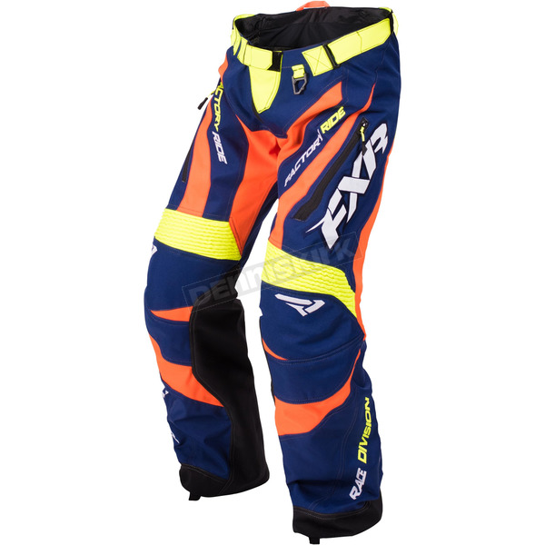 FXR Racing Navy/Orange/Hi-Vis Cold Cross Race Ready Pants - 170113-4530-16