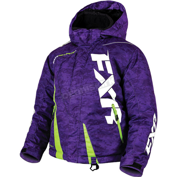 FXR Racing Youth Purple Digi/Lime Boost Jacket - 170404-8170-12