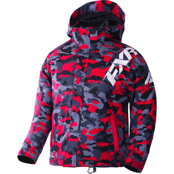 FXR Racing Youth Red Urban Camo/White Squadron Jacket - 170400-2101-12