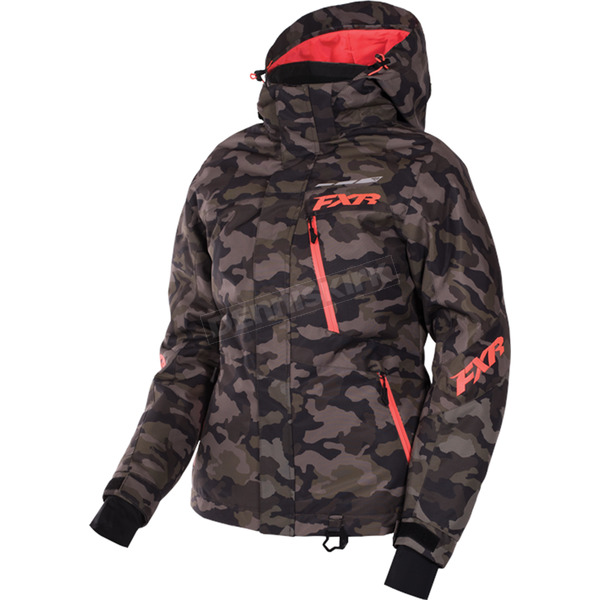 FXR Racing Women's Army Urban Line Camo/Electric Tangerine Fresh Jacket - 170207-7635-06
