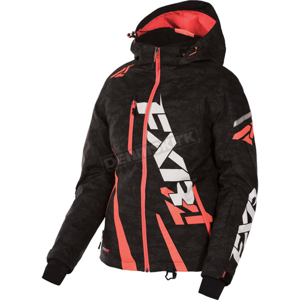 FXR Racing Women's Black Digi/Electric Tangerine Boost Jacket - 170204-1135-04