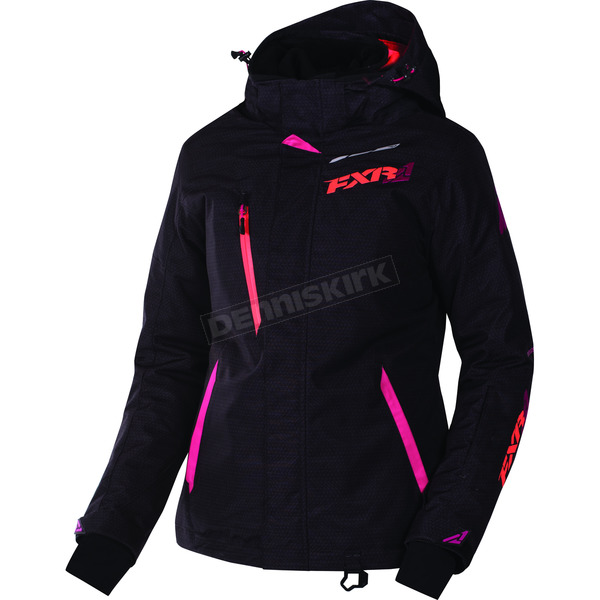 FXR Racing Women's  Black Tri/Fuchsia/Electric Tangerine Vertical Pro Jacket - 170202-1190-10
