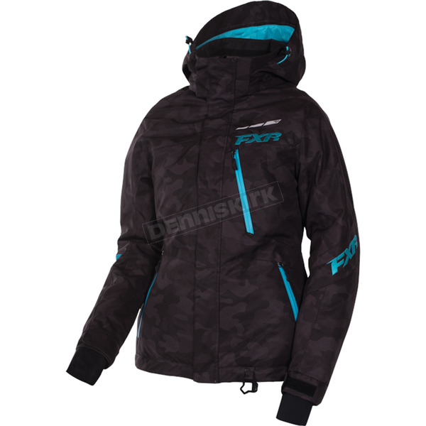 FXR Racing Women's Black Urban Camo/Aqua Fresh Jacket - 170207-1150-08