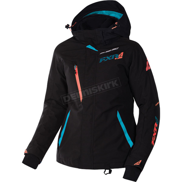 FXR Racing Women's Black/Aqua/Electric Tangerine Vertical Pro Jacket - 170202-1050-08