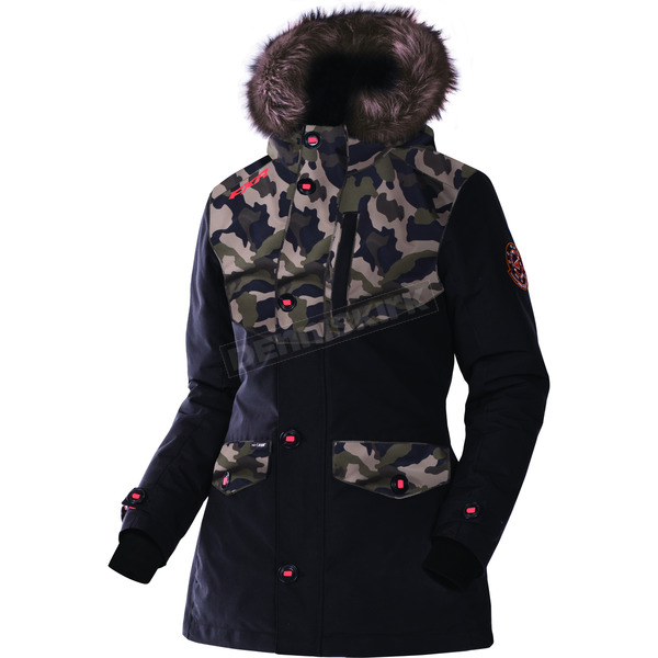 FXR Racing Women's Black/Army Urban Camo Svalbard Parka - 170214-1076-14