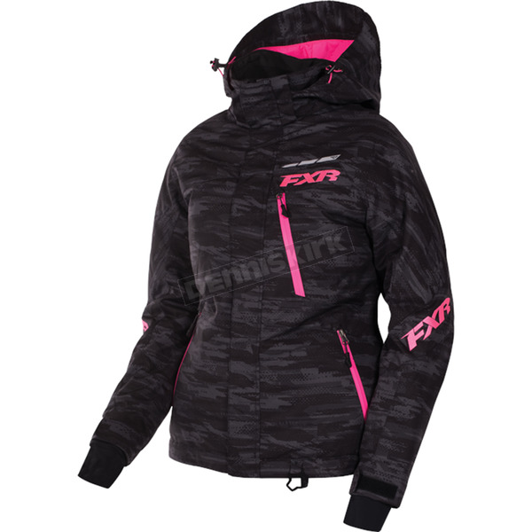 FXR Racing Women's Charcoal Cascade/Electric Pink Fresh Jacket - 170207-0694-08