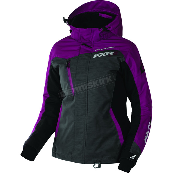 FXR Racing Women's Wineberry/Black/Charcoal Tri Vertical Pro Jacket - 170202-8510-10