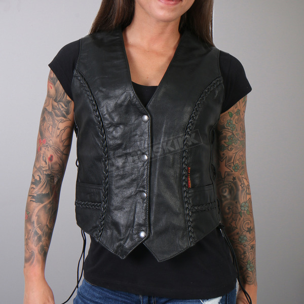 Hot Leathers Women's Black Leather Vest - VSL1006XL