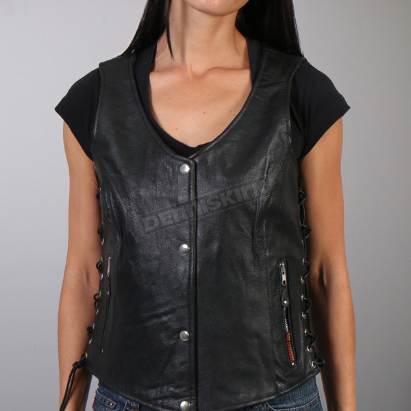 Hot Leathers Women's Black Lambskin Vest w/Side Lace  - VSL1010L