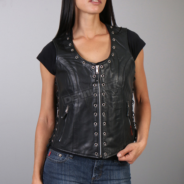 Hot Leathers Women's Black Lambskin Vest - VSL1009L