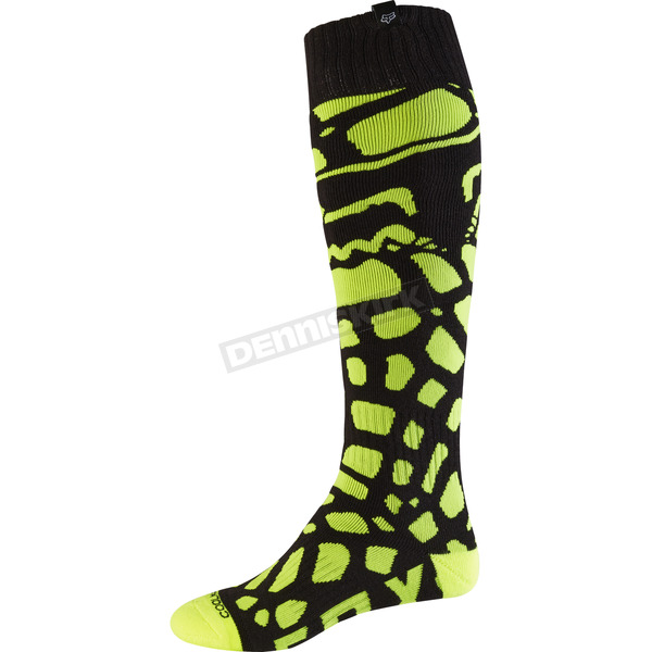 Fox Black/Yellow Grav Coolmax Thin Socks - 17809-019-M