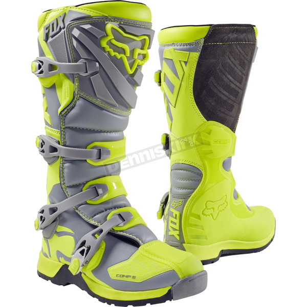 Fox Youth Yellow/Gray Comp 5 Boots - 16449-063-7