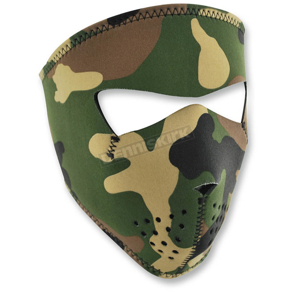 Zan Headgear Woodland Camo Full Face Mask - WNFMS118