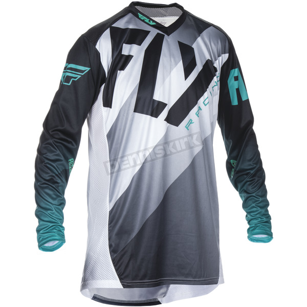 Fly Racing Black/White/Teal Lite Hydrogen Jersey - 370-7202X