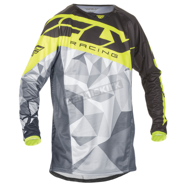 Fly Racing Youth Black/Hi-Vis Kinetic Crux Jersey - 370-520YL