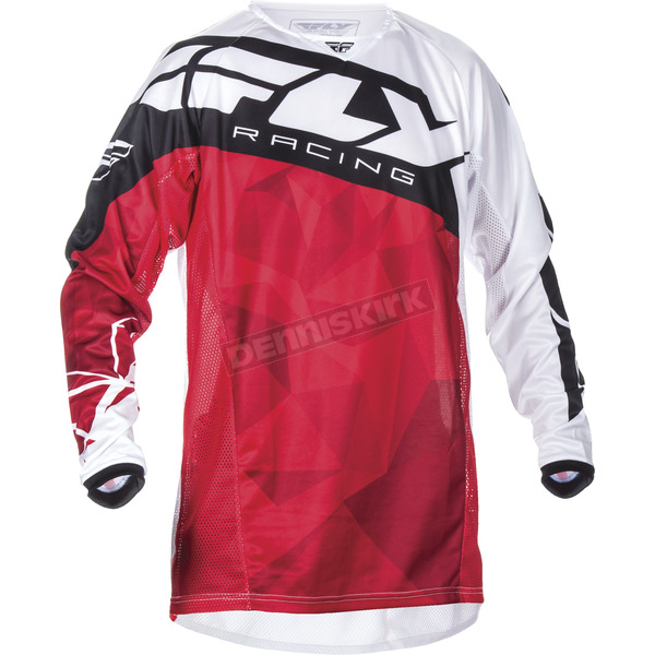 Fly Racing Youth Red/White Kinetic Crux Jersey - 370-522YM