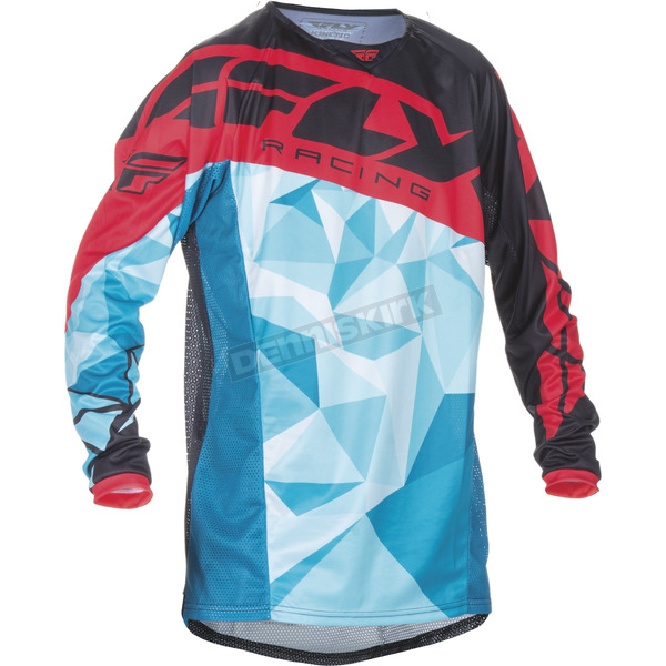 Fly Racing Youth Teal/Red Kinetic Crux Jersey - 370-529YS