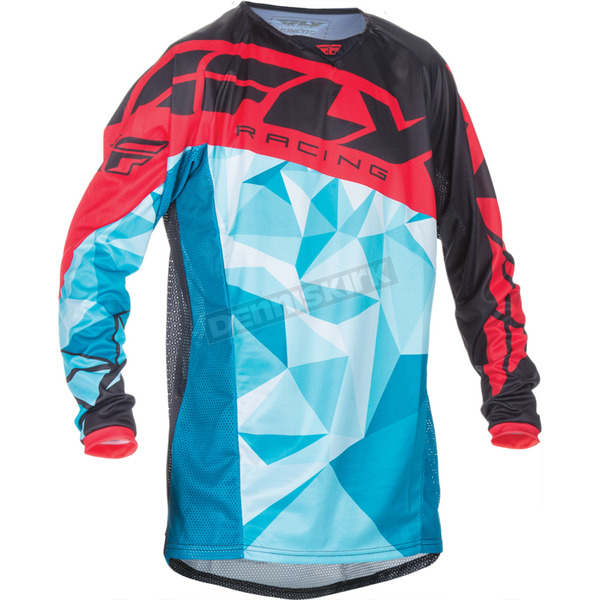 Fly Racing Teal/Red Kinetic Crux Jersey - 370-529S