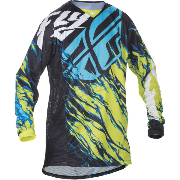 Fly Racing Youth Lime/Blue Kinetic Relapse Jersey - 370-425YM