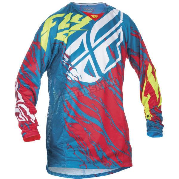 Fly Racing Youth Teal/Red Kinetic Relapse Jersey - 370-429YS