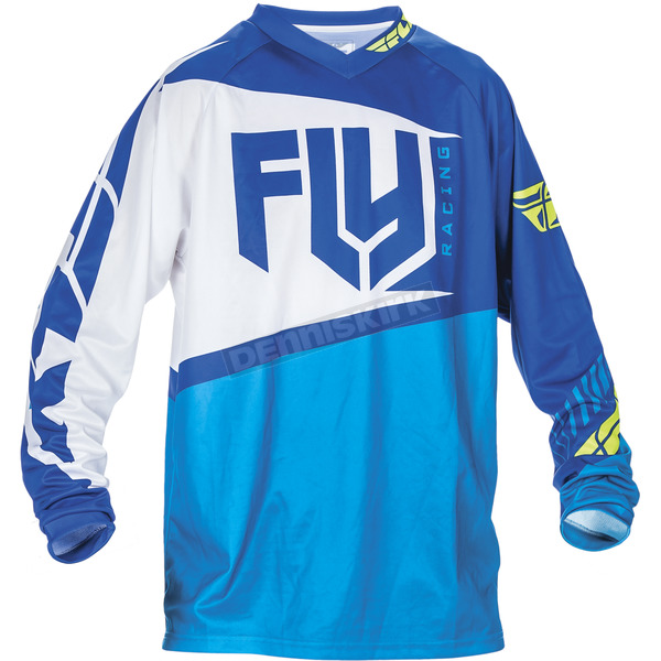 Fly Racing Youth Blue/Hi-Vis F-16 Jersey - 370-921YL